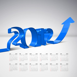 Vector 3d Arrow Moving Upward With 2012 And Calendar