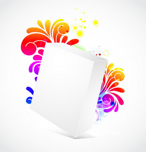 Vector 3d Blanck Box With Floral Background