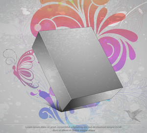 Vector 3d Blanck Box With Grunge Background