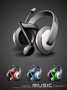 Vector 3d Music Headphone Icon Set