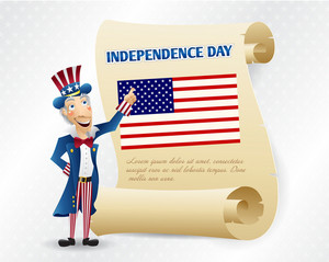 Vector 4th Of July Background With Scroll