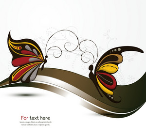 Vector Abstract Background With Butterflies