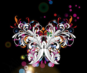 Vector Abstract Background With Butterfly Made Of Floral
