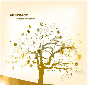 Vector Abstract Background With Colorful Tree