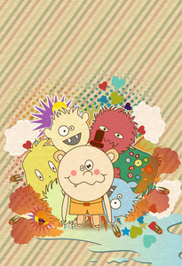 Vector Abstract Background With Funny Kids