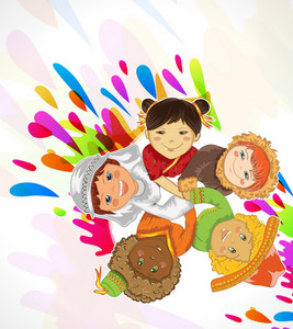 Vector Abstract Background With Kids