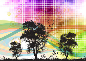 Vector Abstract Background With Trees