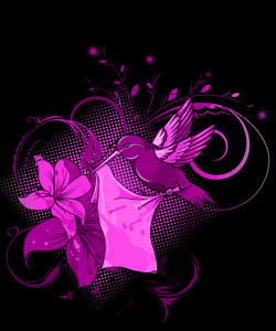 Vector Abstract Bird With Floral Background