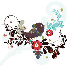 Vector Abstract Bird With Floral