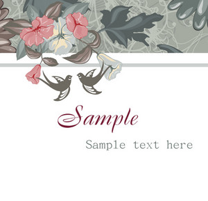 Vector Abstract Floral Background With Birds