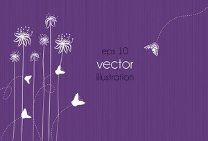 Vector Abstract Floral Background With Butterfly