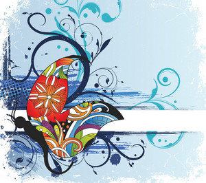 Vector Abstract Floral Background With Colorful Butterfly