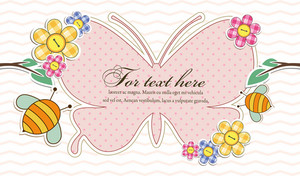Vector Abstract Frame With Bees