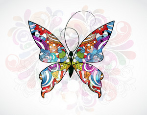 Vector Abstract Illustration With Colorful Butterfly