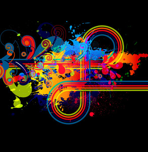 Vector Abstract Illustration With Colorful Splatter