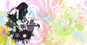 Vector Abstract Music Background With Guitar Player