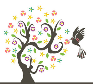 Vector Abstract Tree With Bird