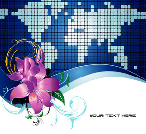 Vector Abstract World Map With Floral