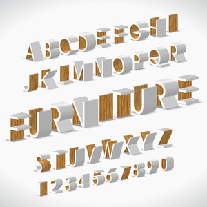 Vector Alphabet Shaped Furnitures