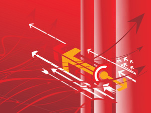Vector Arrows Series On Red Banner