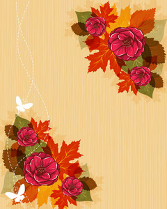 Vector Autumn Background With Butterflies