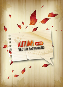 Vector Autumn Background With Paper Speech Bubble