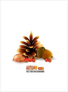 Vector Autumn Background With Pine