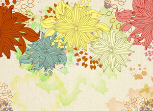 Vector Autumn Floral Background
