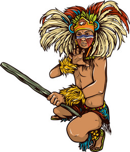 Vector Aztec Warrior