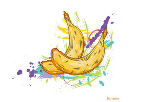 Vector Bananas With Colorful Splashes