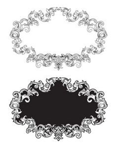Vector Baroque Floral Frame In Two Different Styles