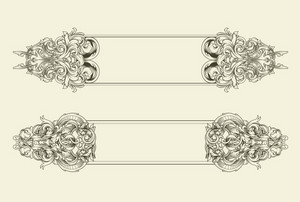 Vector Baroque Floral Frames Set
