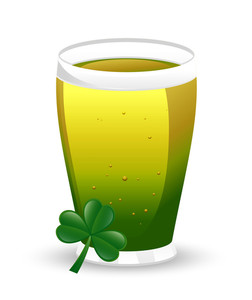 Vector Beer Glass With Clover Leaf