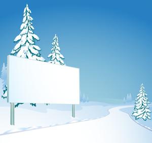 Vector Billboard At The Road. Winter.