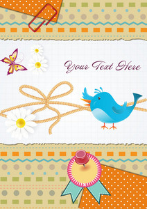 Vector Bird With Scrapbook Elements