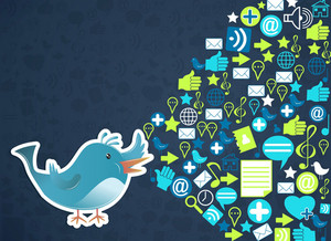 Vector Bird With Social Icons