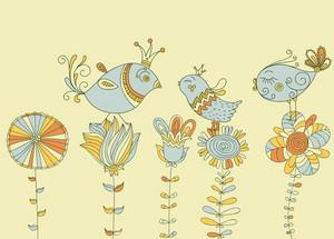Vector Birds On Flowers