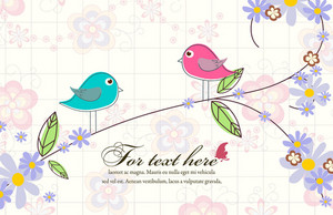 Vector Birds With Floral