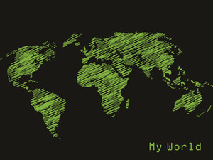 Vector Black Background With Green Map