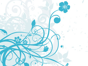 Vector Blue Grungy Floral