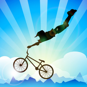 Vector Bmx Cyclist Performing Stunt