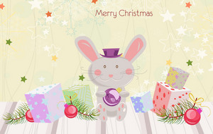 Vector Bunny With Presents