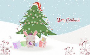 Vector Bunny With Tree