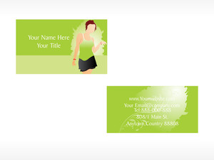 Vector Business Card With Lady Set_1