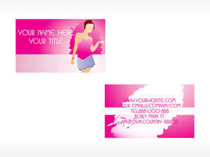 Vector Business Card With Lady Set_3