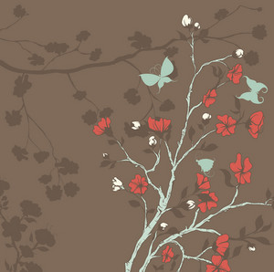 Vector Butterflies With Floral