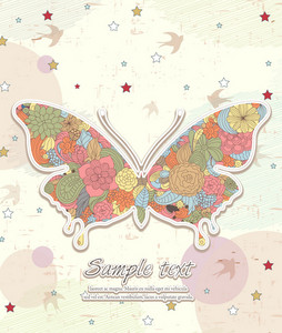 Vector Butterfy Made Of Floral