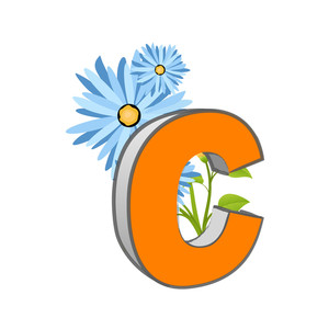 Vector C Alphabet With Flower