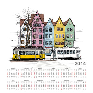 Vector Calendar 2014 With Train Illustration.