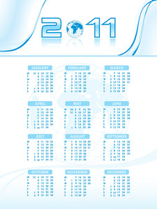 Vector Calendar For New Year 2011